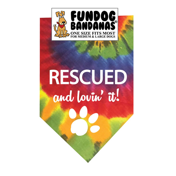 Wholesale 10 Pack - RESCUED and lovin' it! Bandana - Assorted Colors - FunDogBandanas