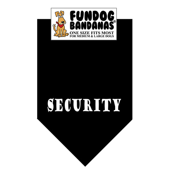 Black one size fits most dog bandana with Security in white ink.