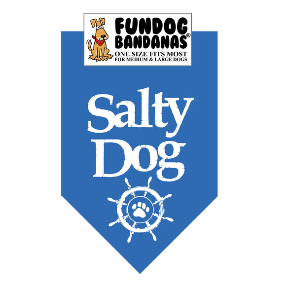 Mirage Blue one size fits most dog bandana with Salty Dog and a ship's wheel in white ink.