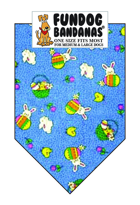 Blue dog bandana with eggs and easter bunnies.