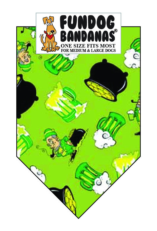 Bright green dog bandana with leprechauns, pots of gold and mugs of beer.