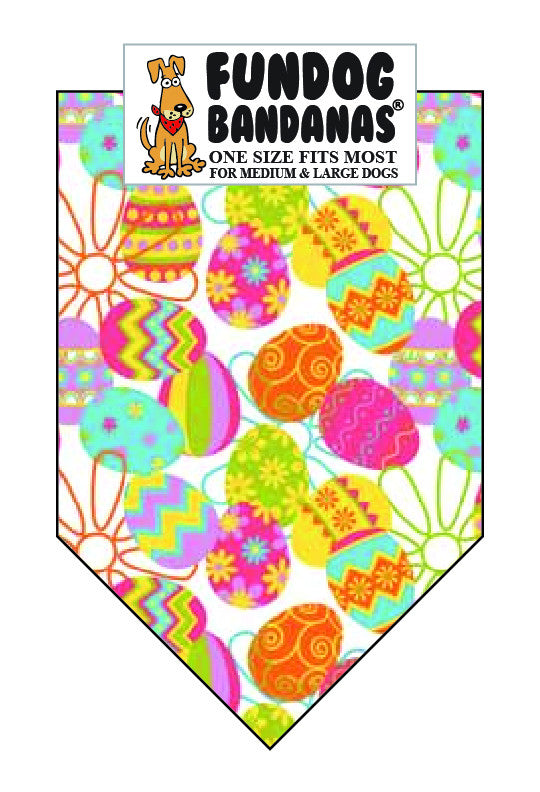 White dog bandana covered in colorful eggs and flowers.