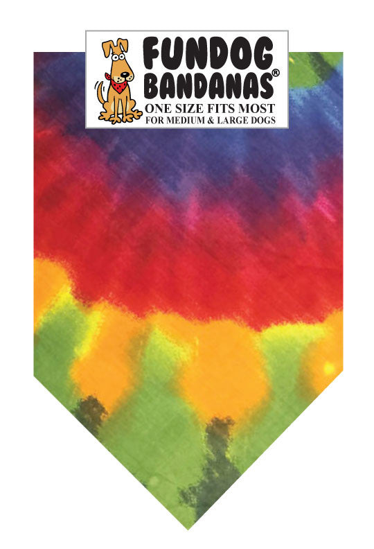 Brightly colored tie dye one size fits most dog bandana.