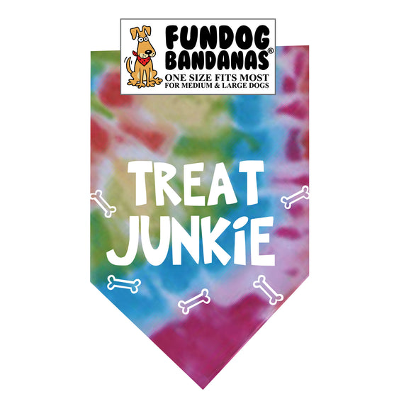 Brightly colored tie dye one size fits most dog bandana with Treat Junkie and dog bones in white ink.