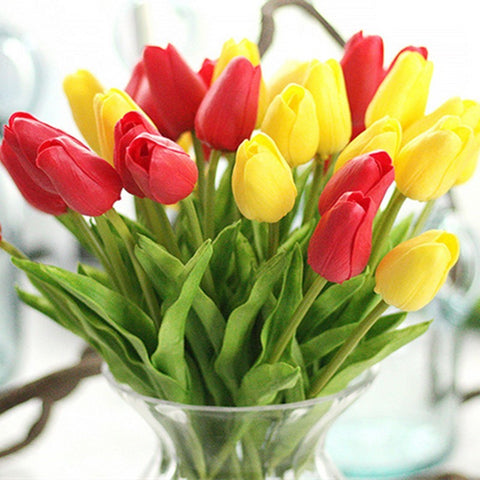 1pc Pu Tulips Artificial Flowers Real Touch Artificiales Para Decora Mini Tulip For Home Wedding Decoration Flowers