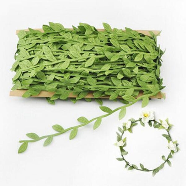 5 Meter Silk Nature Green Gold Artificial Leaf Leaves Vine For Wedding Box Decoration Foliage Handmade Scrapbooking Craft Wreath