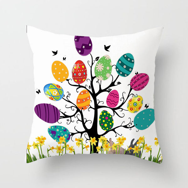 Easter Decorations For Home Easter Rabbit Bunny Eggs Polyester Pillowcase 45*45cm Party Sofa Decorations