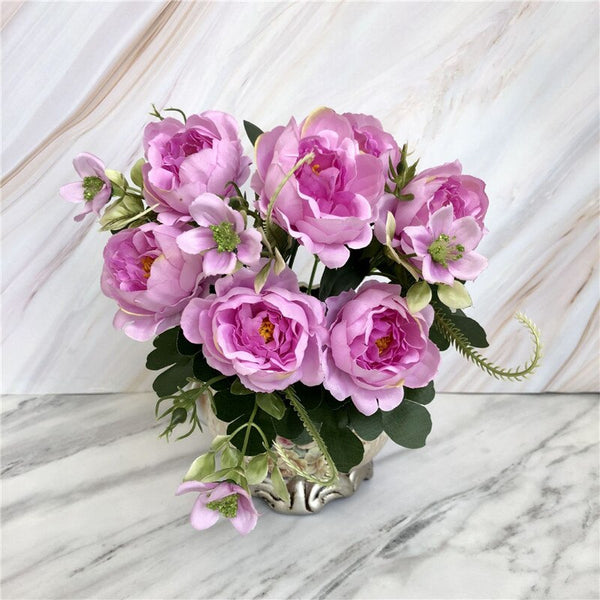 30cm Length Artificial Rose Peony Flowers Gift Silk Fake Flower Bouquet for Home Office Decoration Wedding Party Decor 52837