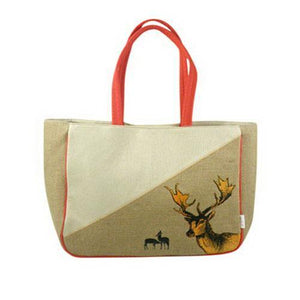 Jute Shoulder Bag with Deer Print