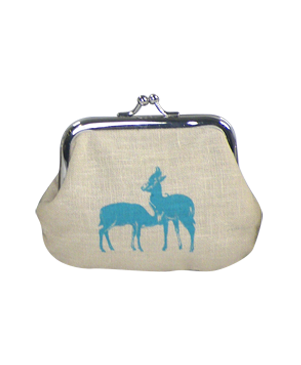 Linen Deer Print Coin Purse