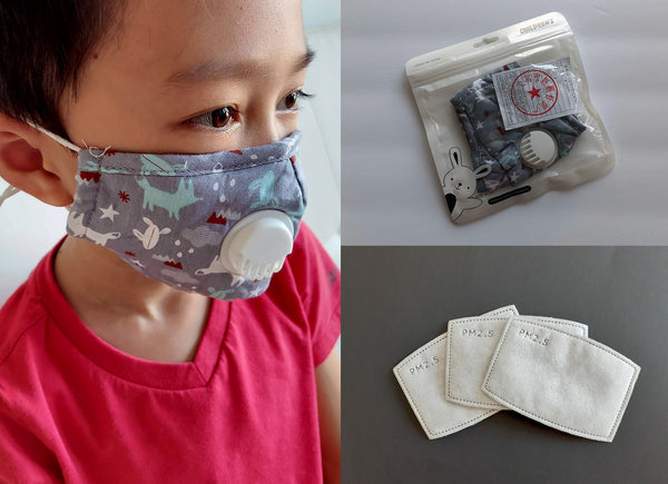 Reusable Face Mask with valve for kids