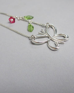 Simply Beautiful Butterfly Necklace with Rose and Petal Accents