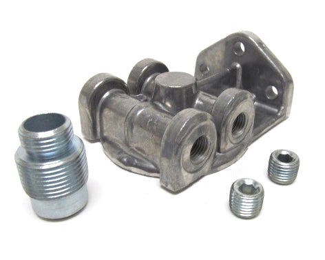 Oil Filter Mount  1in-14 Ports: 1/4in NPT  L/R