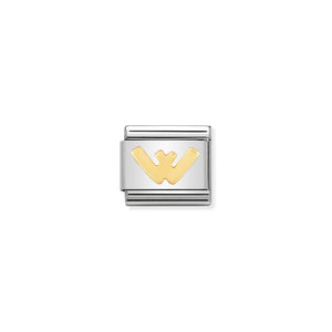 NOMINATION - Composable Steel & Gold Letter 'W' 03010123