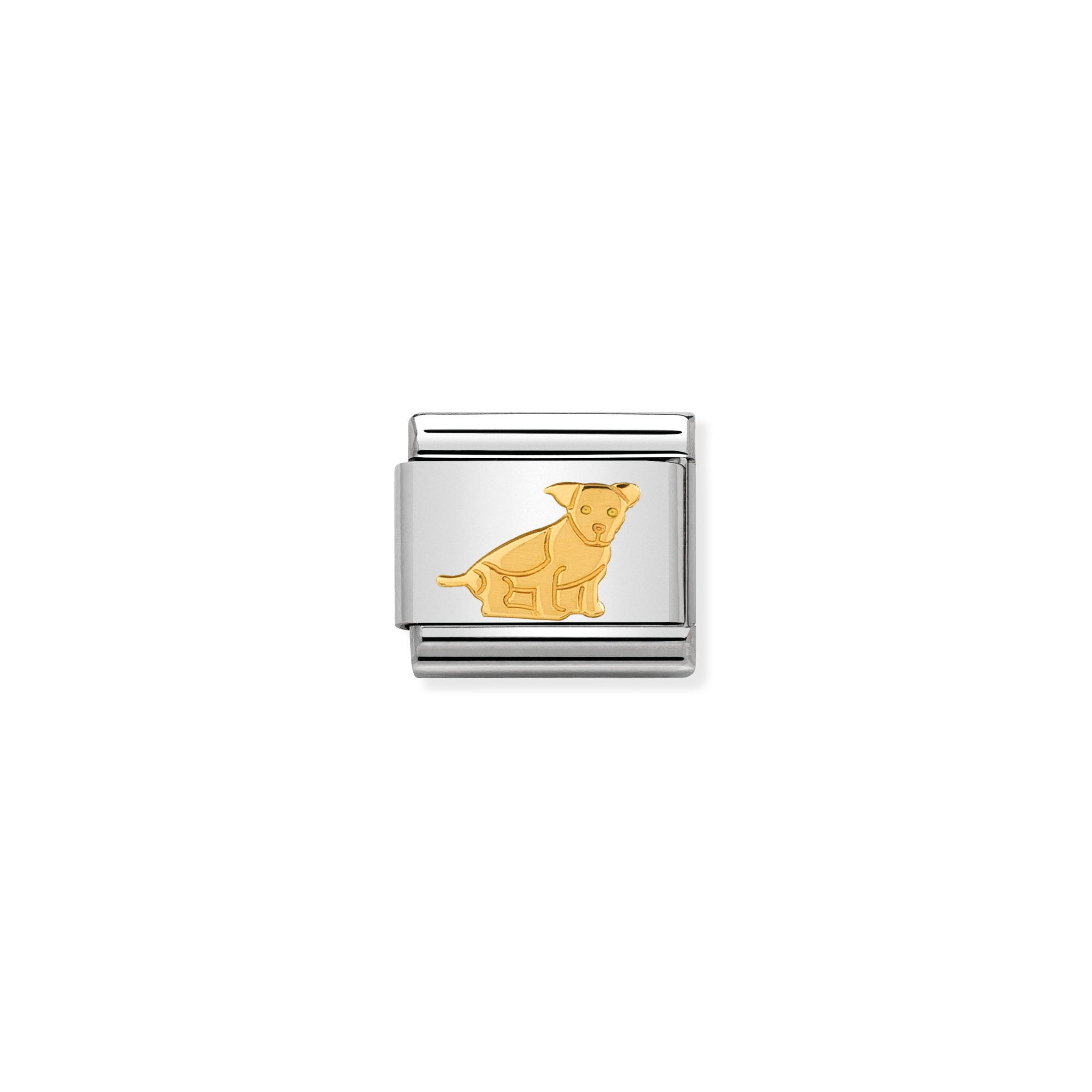 NOMINATION - Composable 030112 33 Classic ANIMALS EARTH st/steel & 18ct gold (Seated dog)