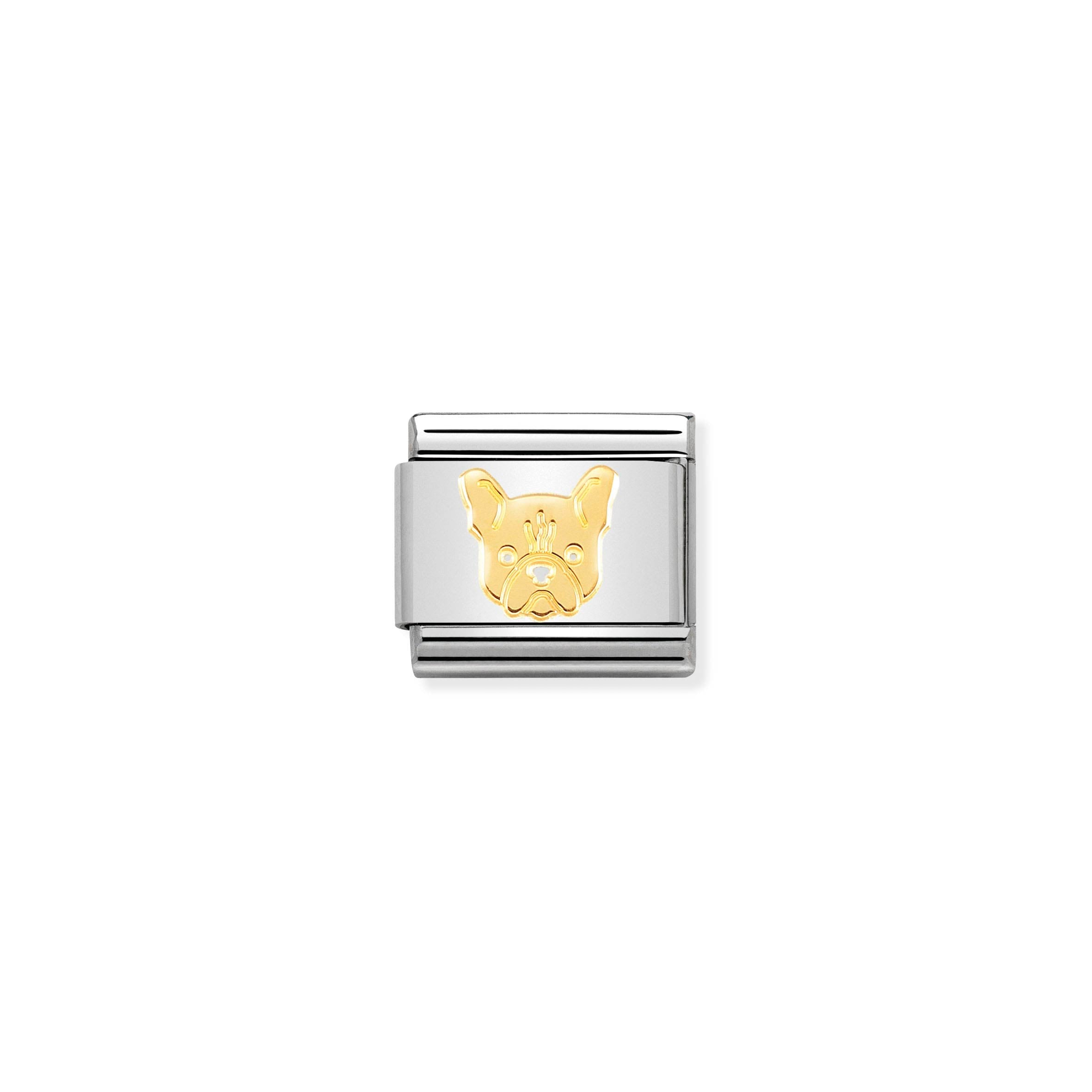 NOMINATION - Composable Classic SYMBOLS st/steel &18ct gold (French bulldog)