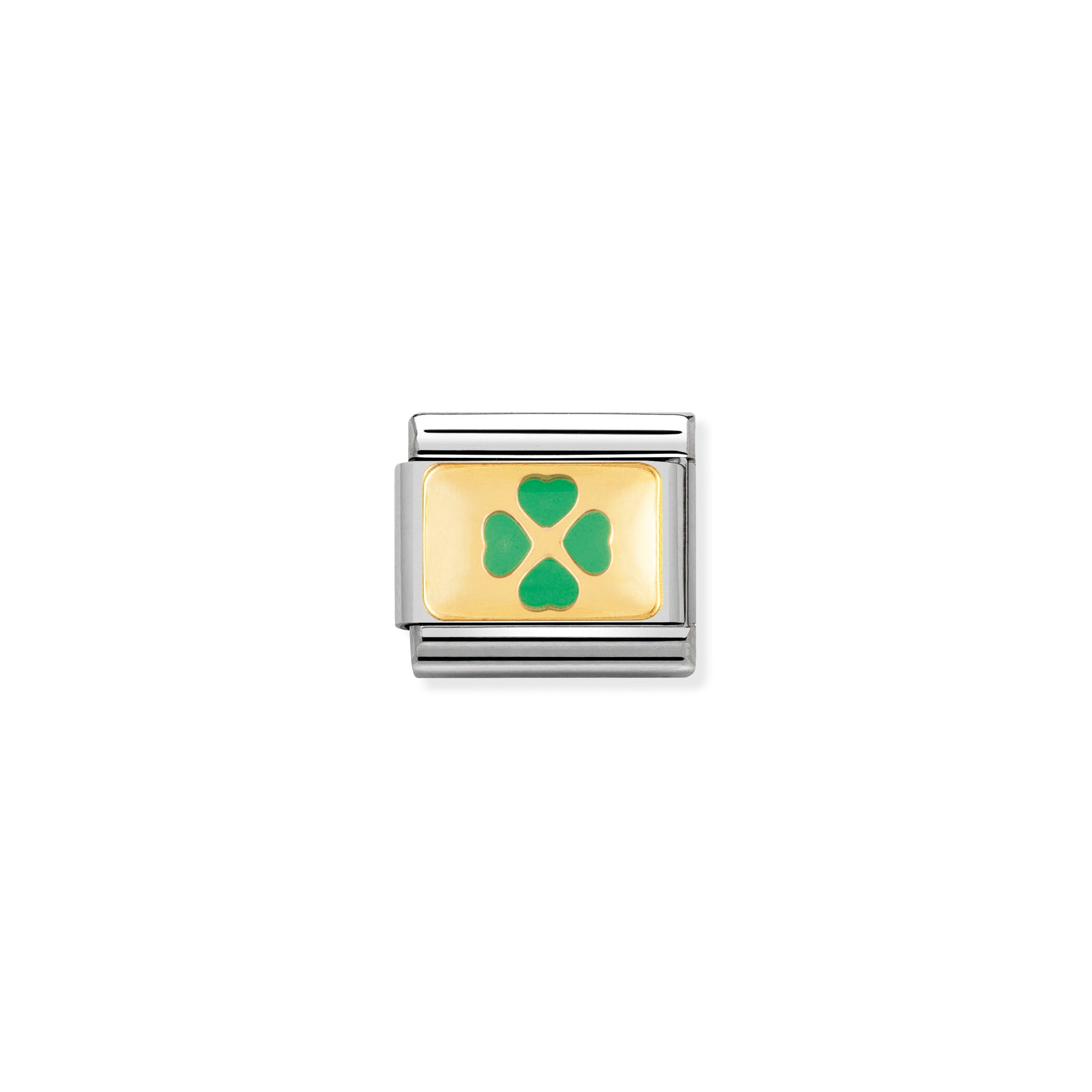 NOMINATION - Composable Steel, Enamel & Gold 'Pale Green Clover' 03020505
