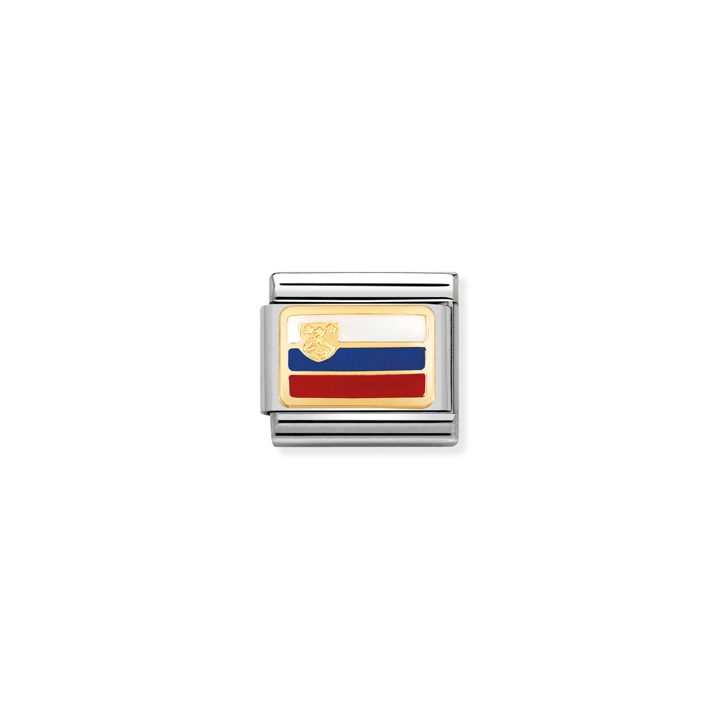 "NOMINATION - Composable steel/gold and enamel ""Slovenia"" Flag 03023415"