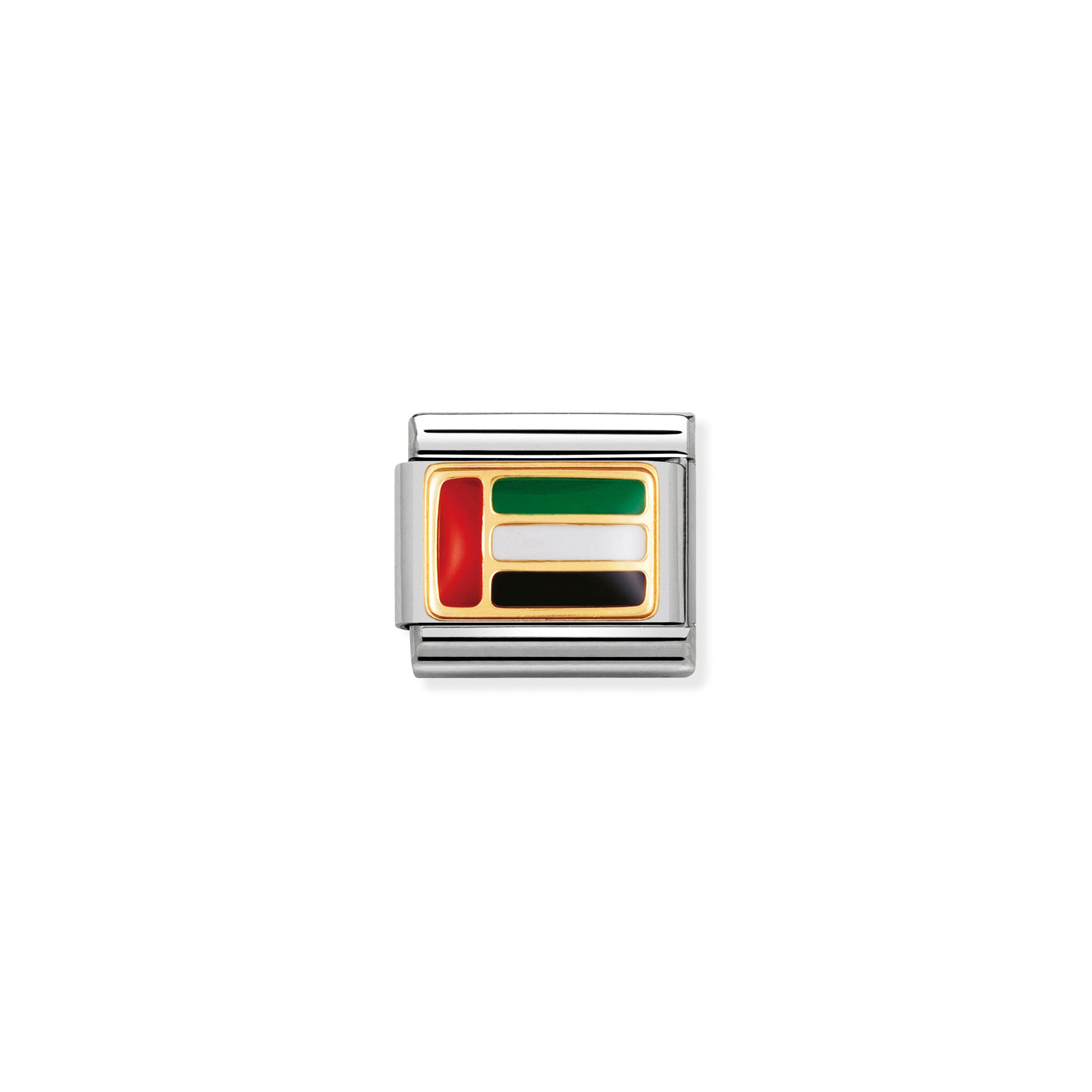 "NOMINATION - Composable steel/gold and enamel ""UAE"" Flag 03023615"