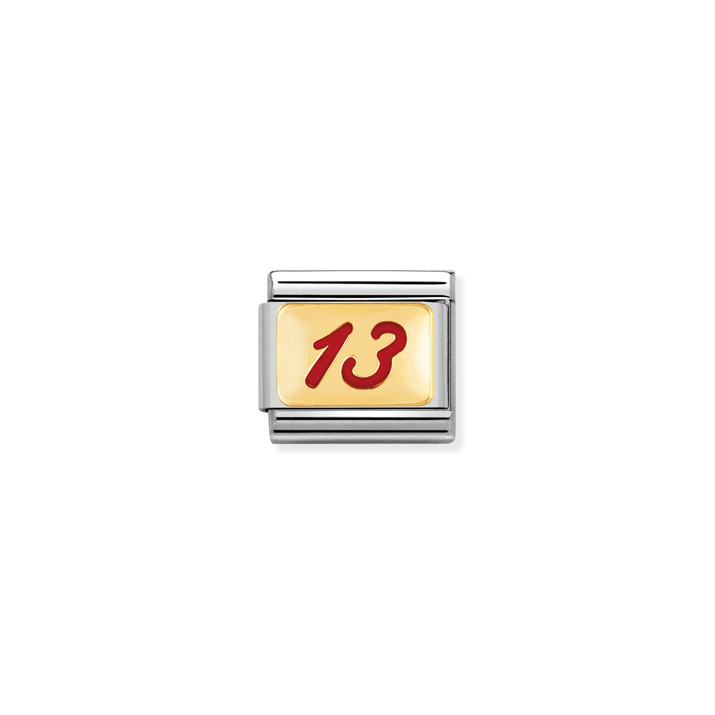 NOMINATION - Composable Classic MESSAGES 1 st/steel, enamel & 18ct gold (Number 13 red)