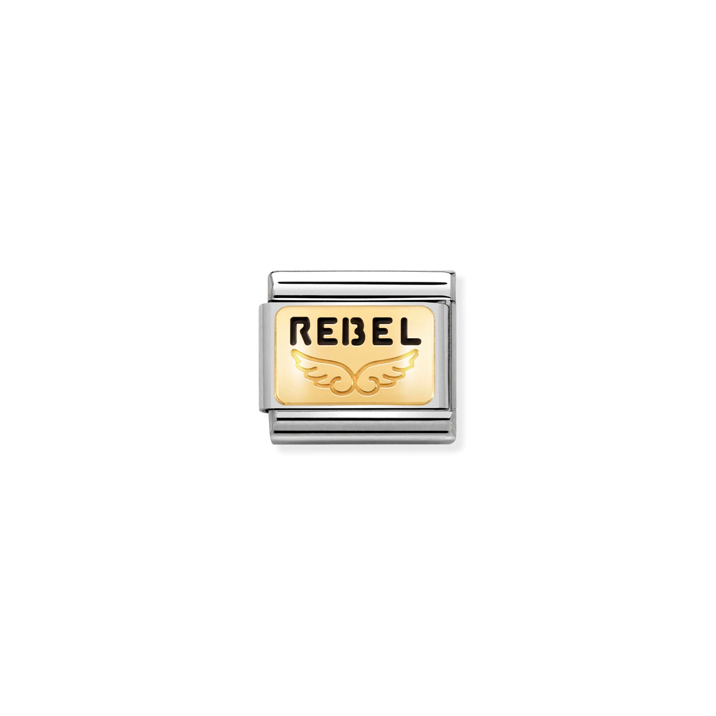 NOMINATION - Composable Classic PLATES st/steel, enamel & 18ct gold (Rebel with a cause angel)