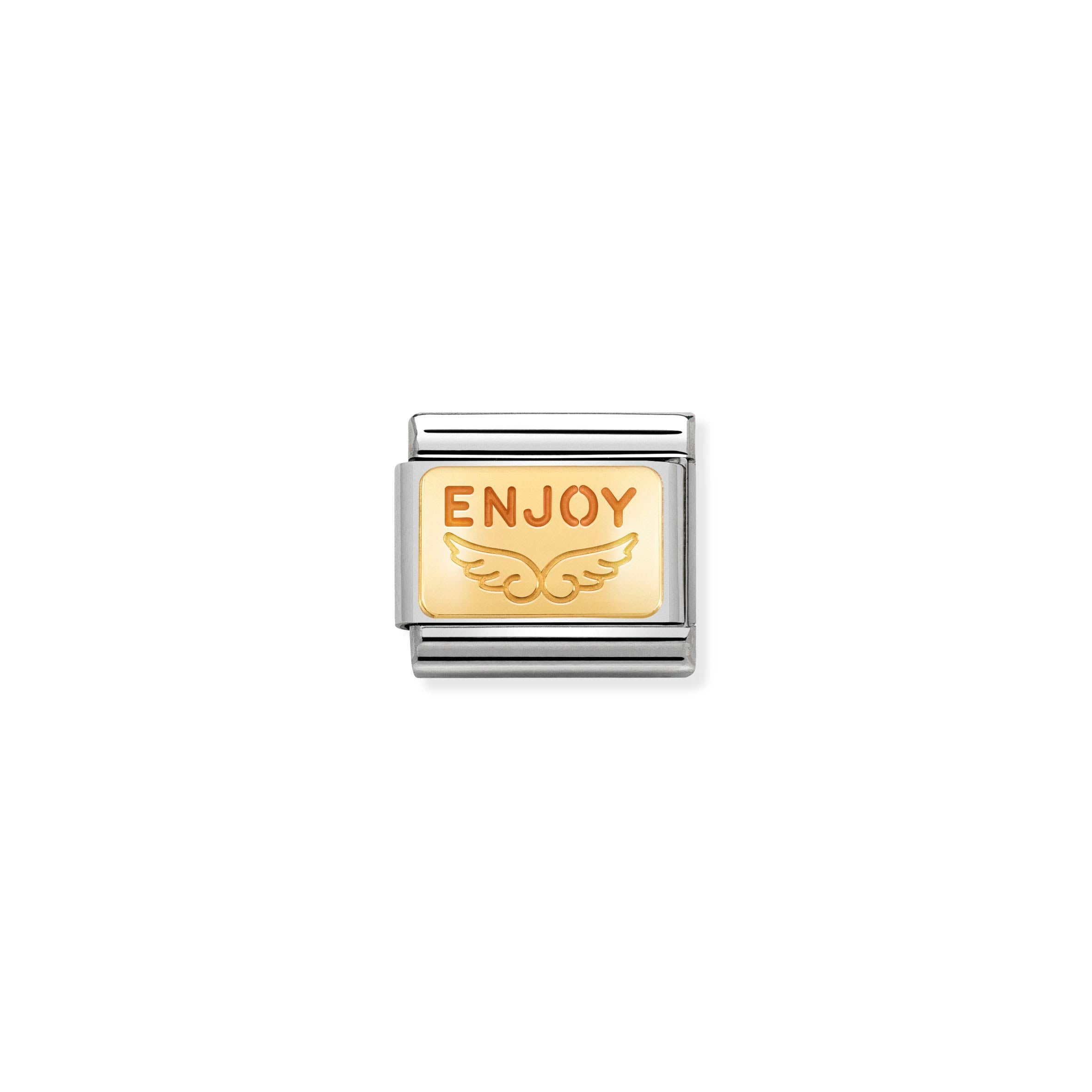 NOMINATION - Composable Classic PLATES st/steel, enamel & 18ct gold (Enjoy Life Angel)
