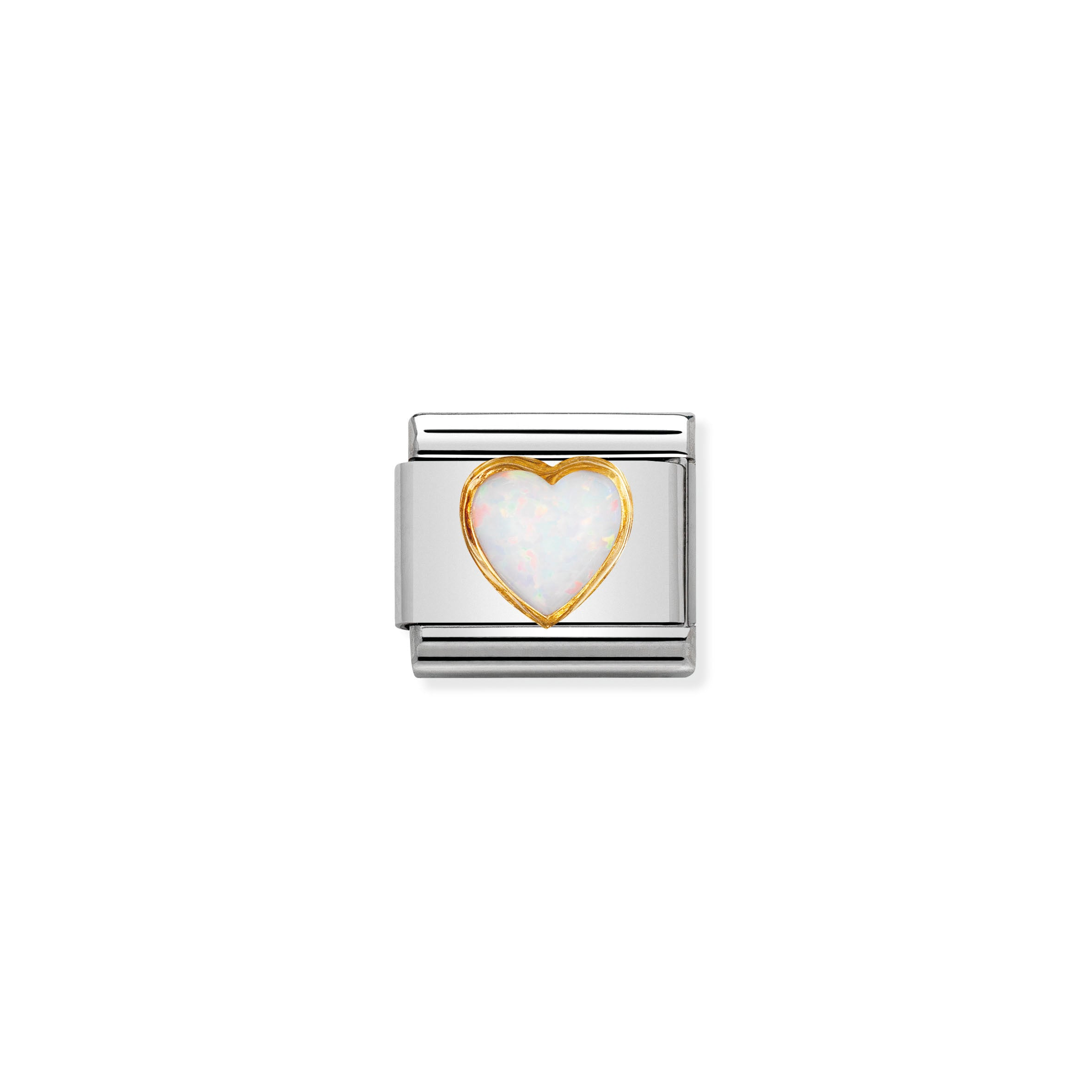 NOMINATION - Composable 030501 07 Classic STONES HEARTS st/steel, 18ct gold (White Opal)
