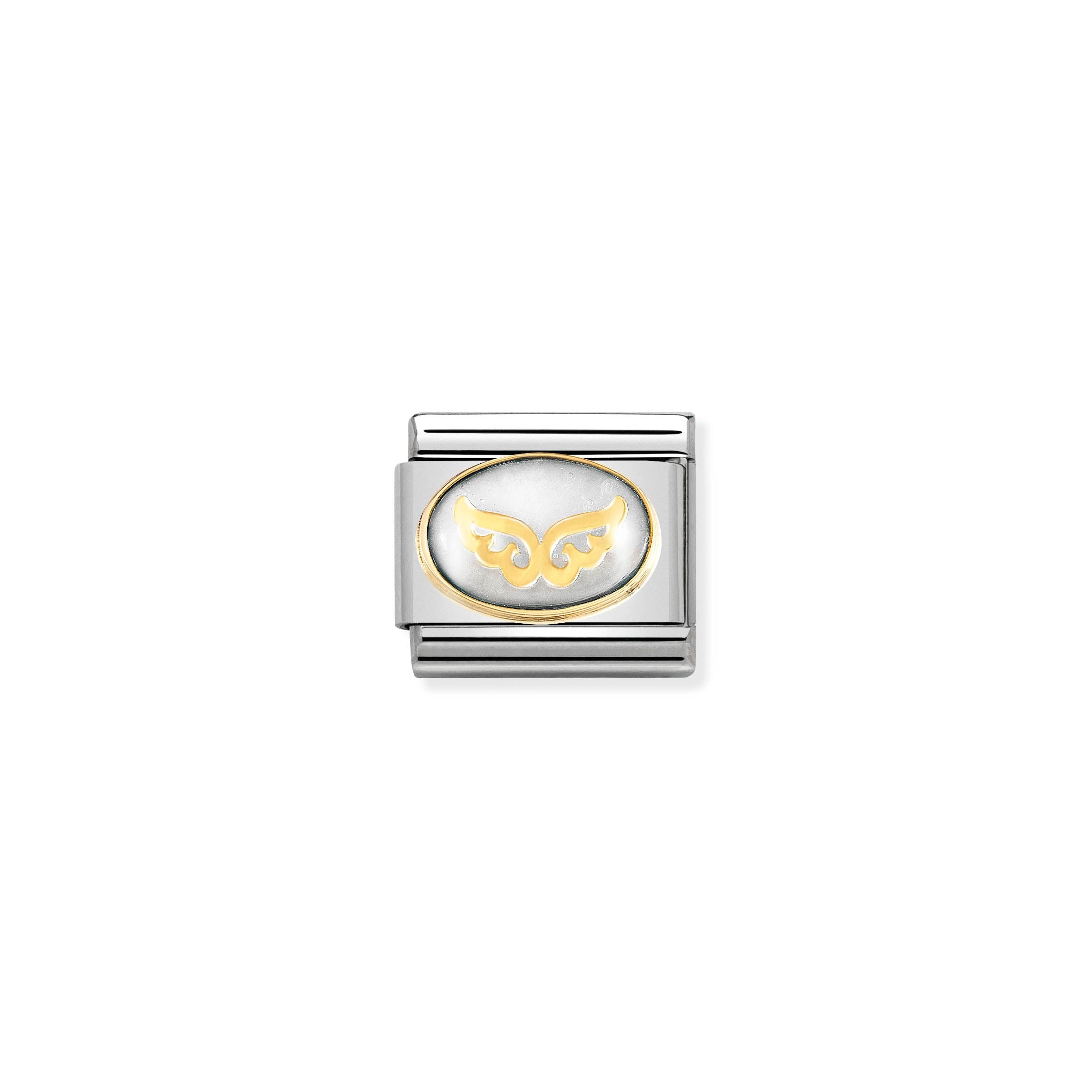 NOMINATION - Composable CLASSIC STONES DOUBLE with Symbol st/steel & 18ct gold (Angel Wings)