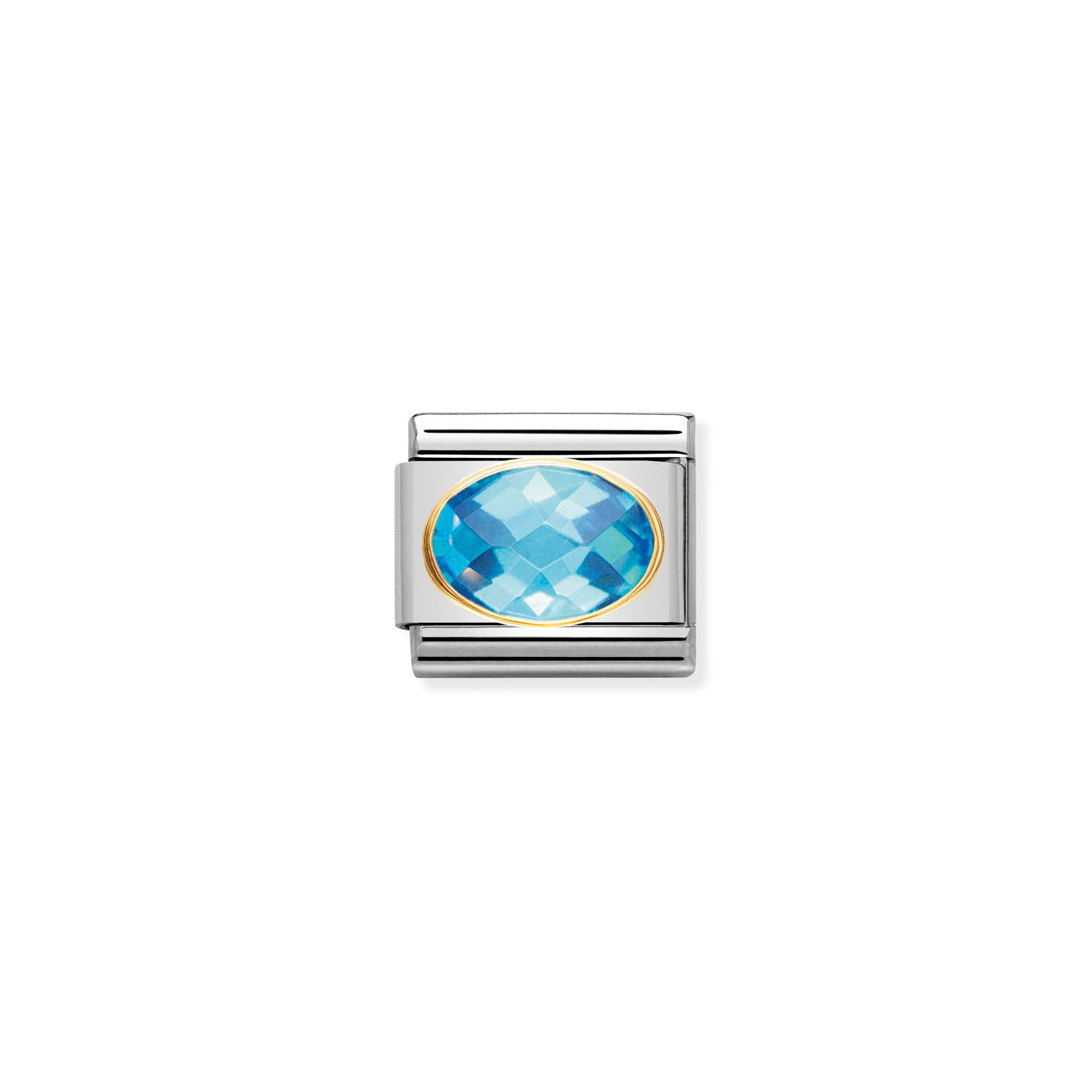 NOMINATION - Composable 030601 006 COMP Classic FACETED OVAL CZ st/steel & 18ct gold (Light Blue)