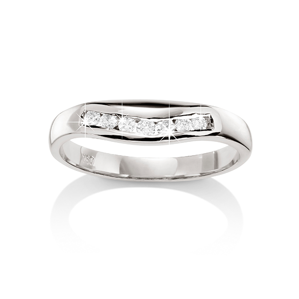 18ct White Gold 0.14ct Diamond Curved Wedding Band