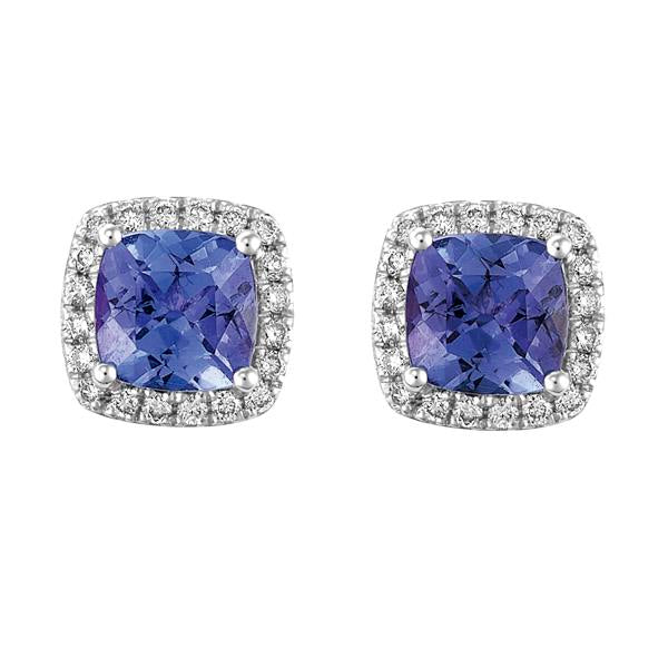 18ct White Gold Cushion Tanzanite and Round Brilliant-cut Diamond Earrings
