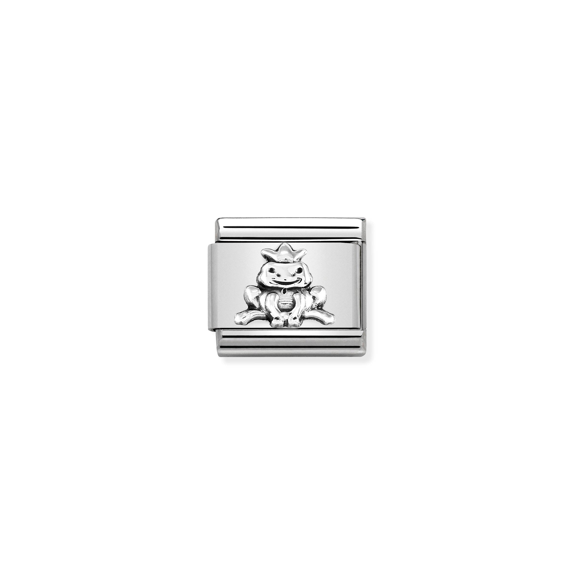 NOMINATION - Composable Classic OXIDISED SYMBOLS st/steel & sterling silver (Frog with crown)