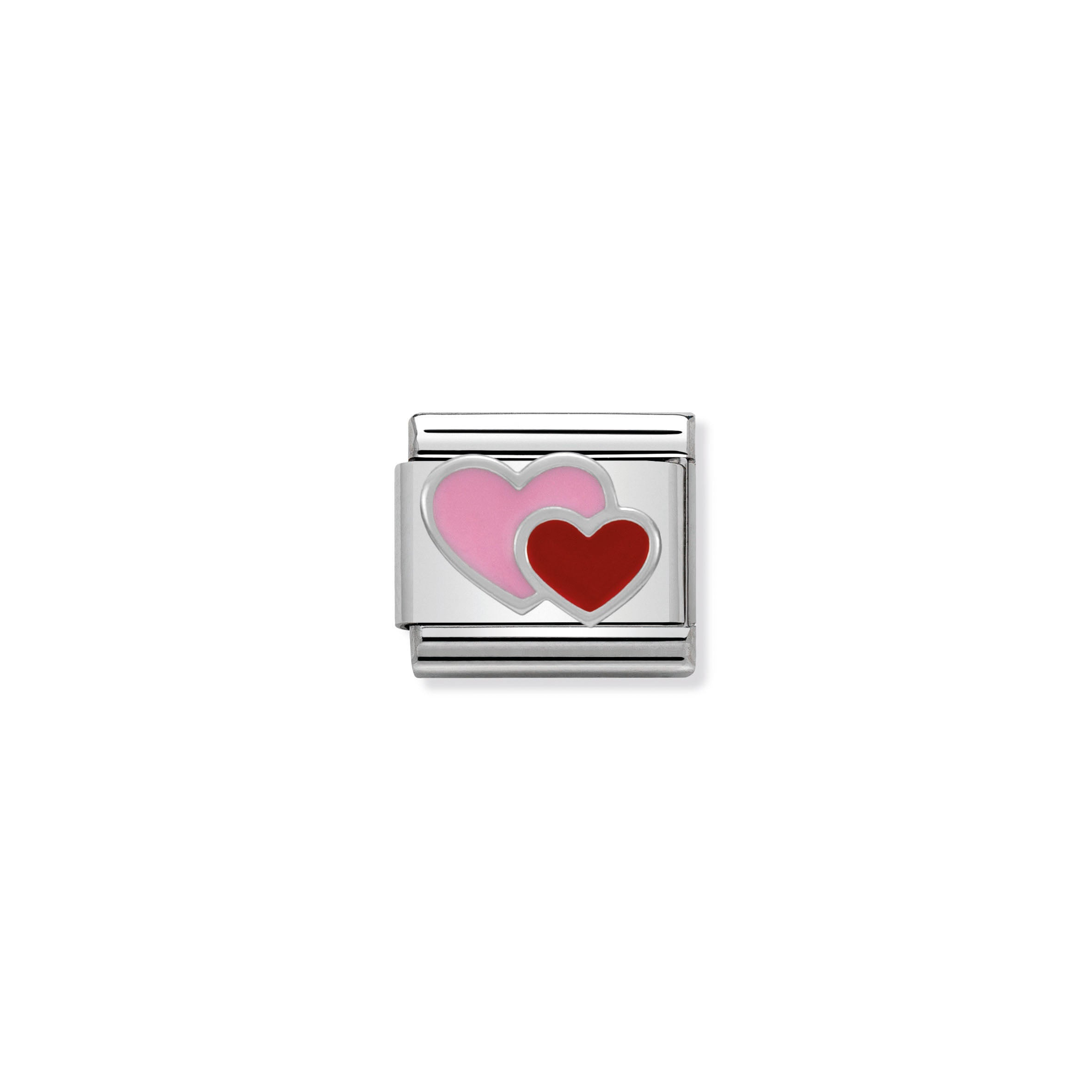 NOMINATION - Composable 330202 16 Classic SYMBOLS st/st, enamel & silver 925 (Pink & Red Double Heart)