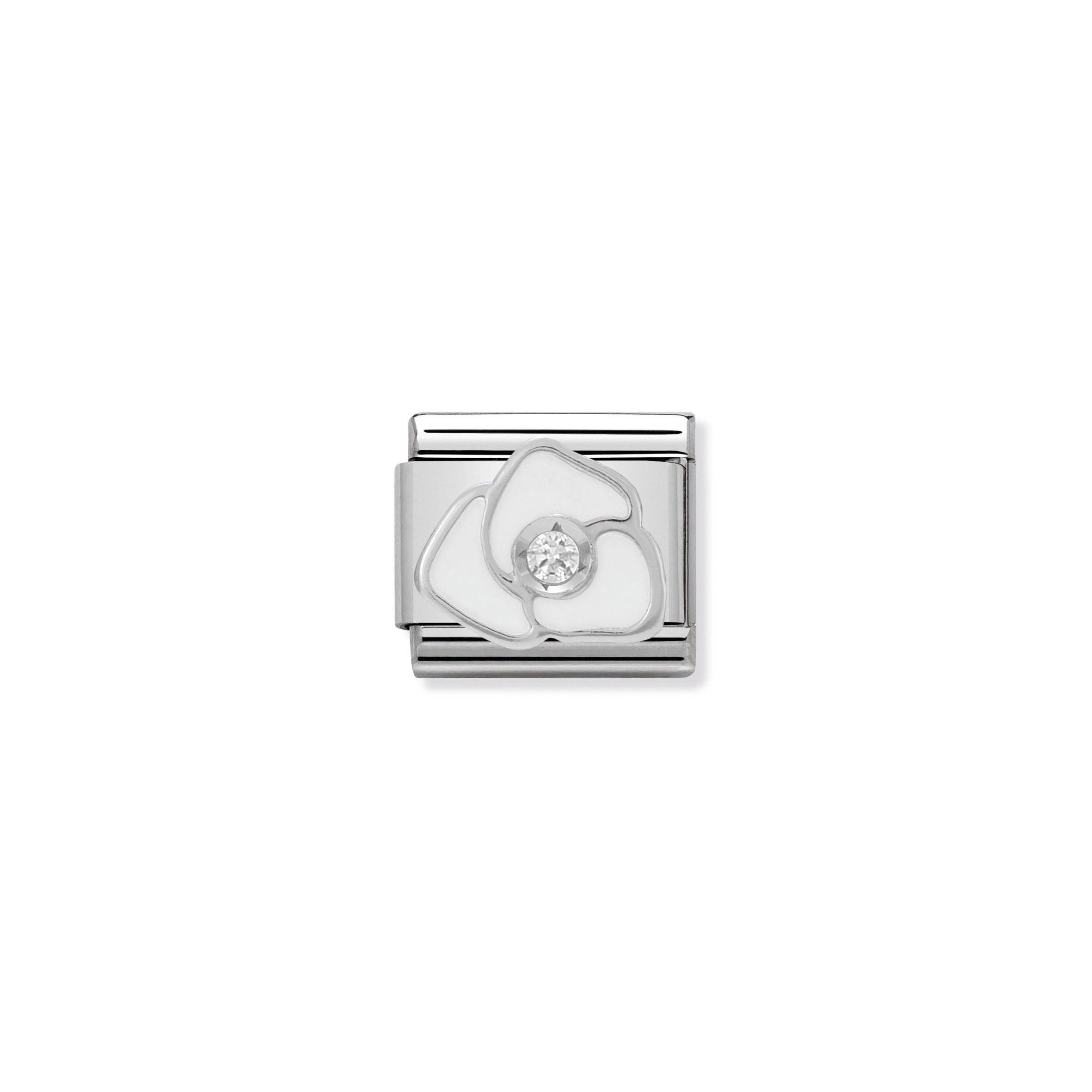 NOMINATION - Composable Steel, Enamel, Cz & Silver Shine 'White Rose' 33030506