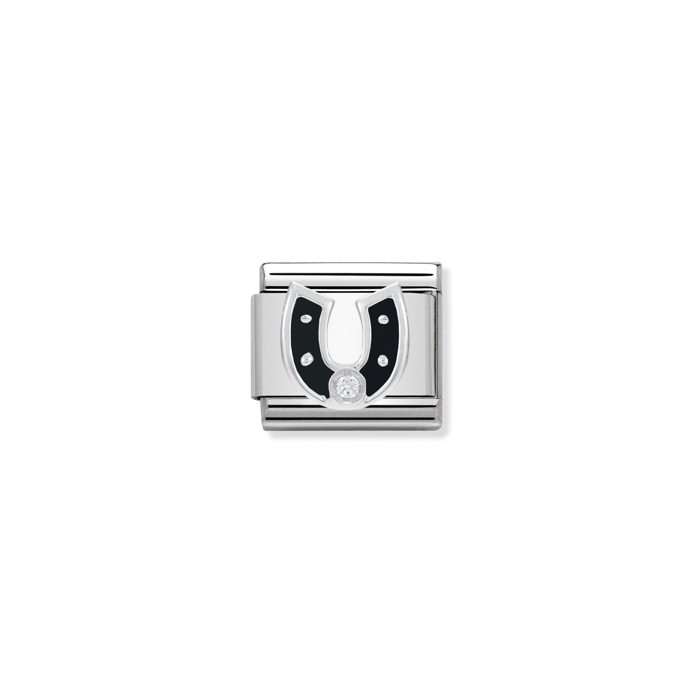 NOMINATION - Composable 330305 11 COMP Classic SYMBOLS  st/steel, 925 silver, enamel & cz (Black Horseshoe)