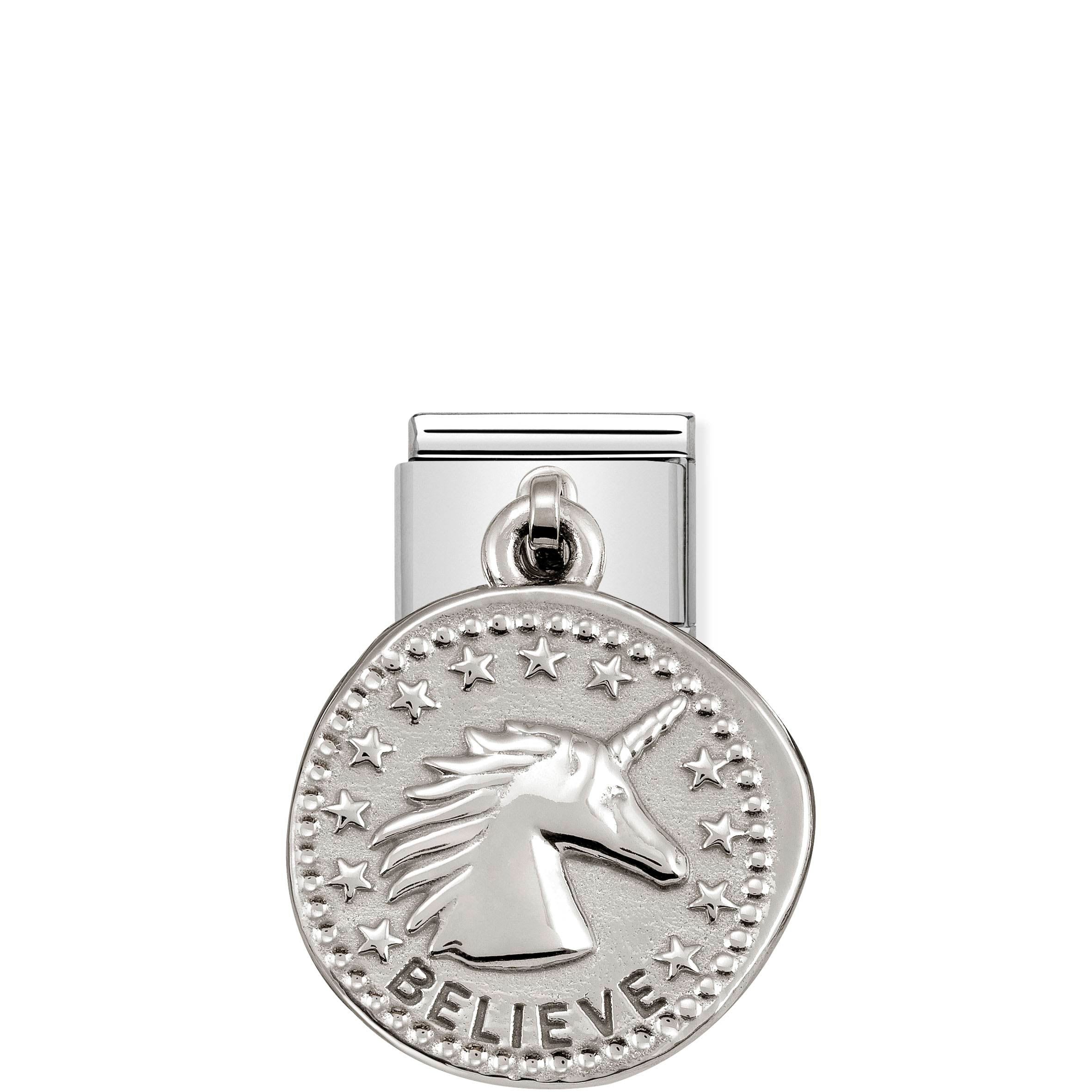 NOMINATION - Composable Classic CHARMS WISHES st/steel & silver 925 (Believe)