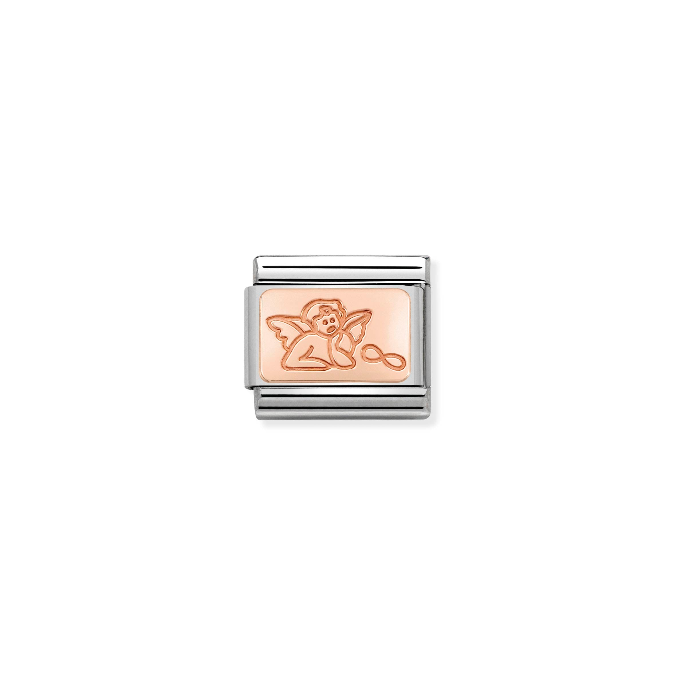NOMINATION - Composable Classic ROSE GOLD PLATE st/st, 9ct rose gold CUSTOM (Guardian Angel)