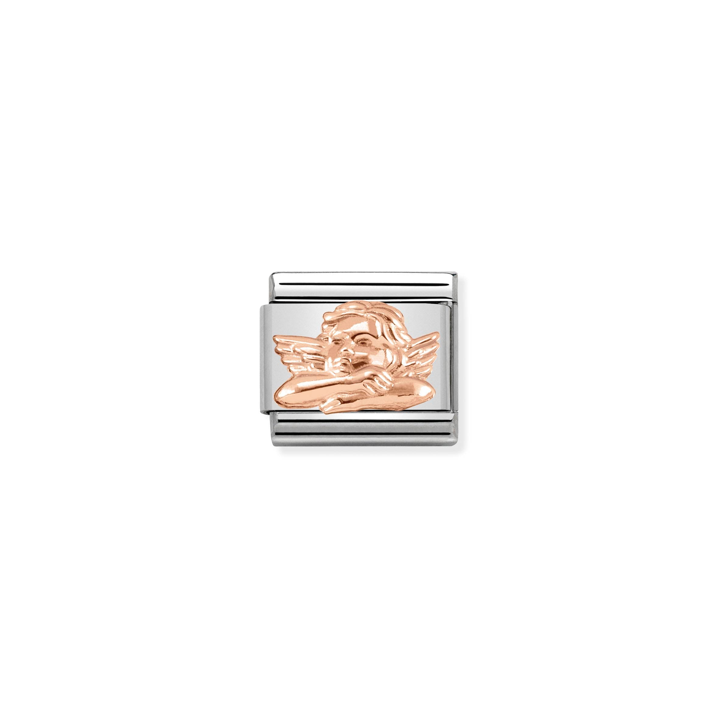NOMINATION - Composable Classic RELIEF SYMBOLS st/steel & 9ct rose gold (Angel of friendship)