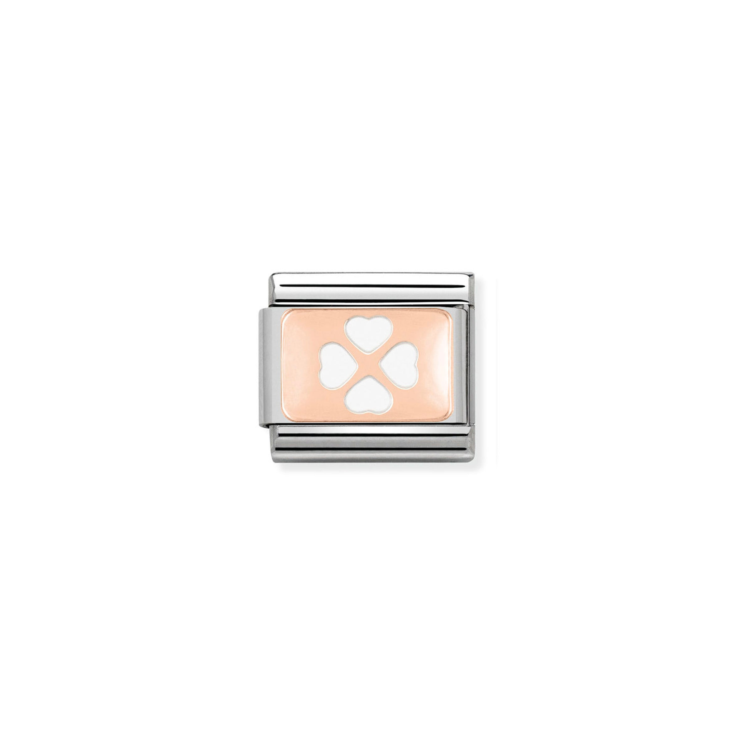 NOMINATION - Composable 430201 07 Classic PLATES st/steel, enamel & 9ct rose gold (White Four Leaf Clover)
