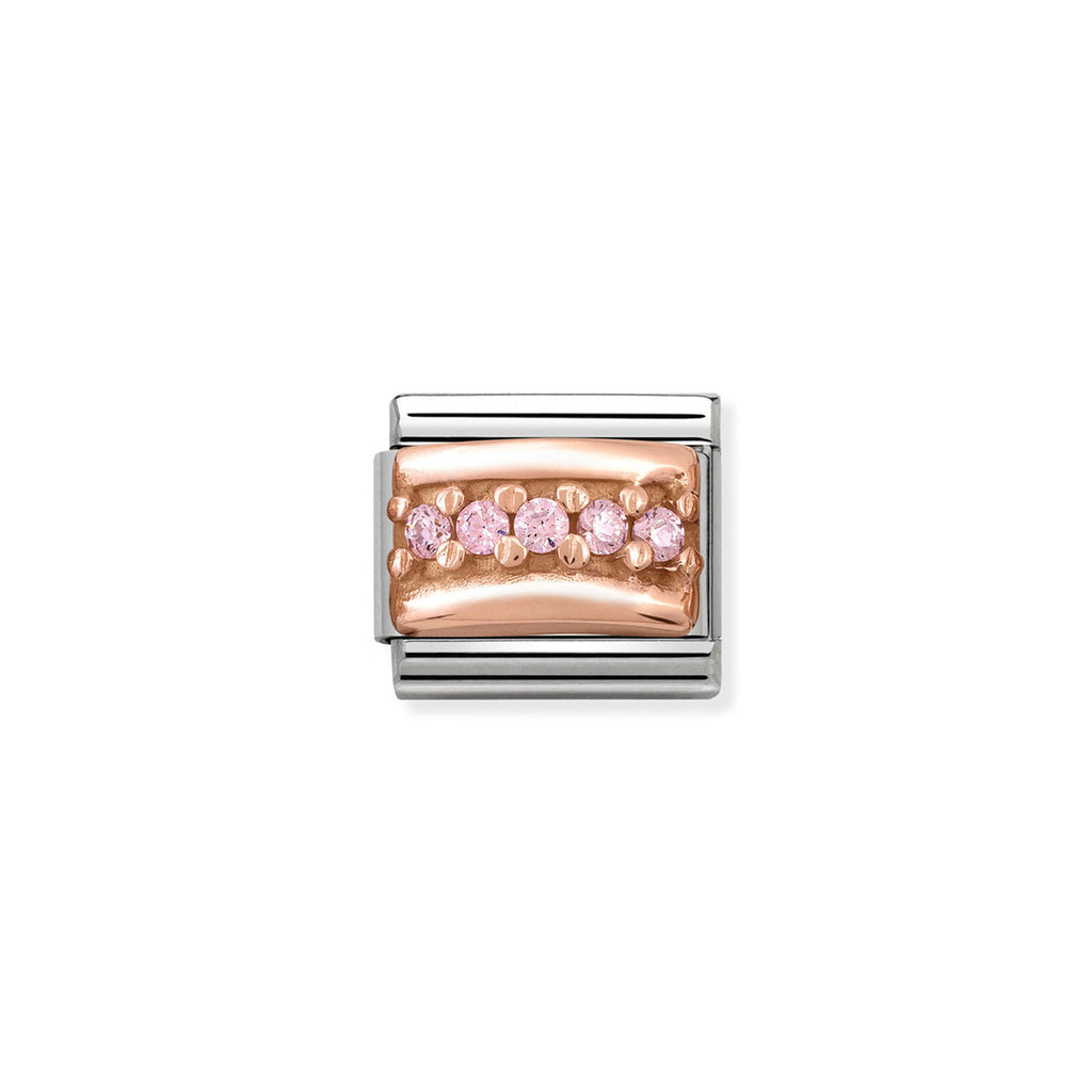 NOMINATION - Composable Steel & Rose Gold 'Pink Cz' 43030406