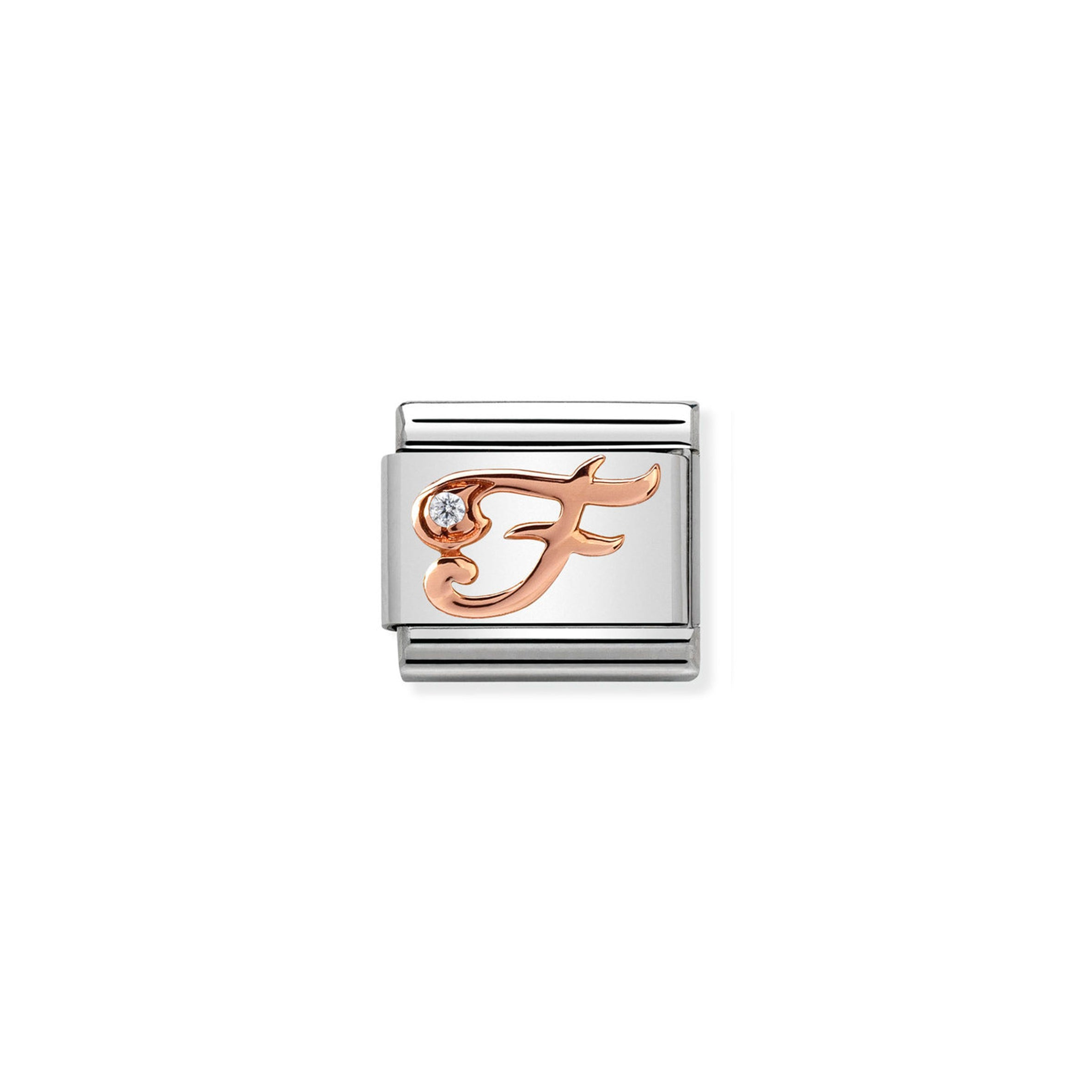 NOMINATION - Composable Steel & Rose Gold Cursive Letter with Cz 'F'