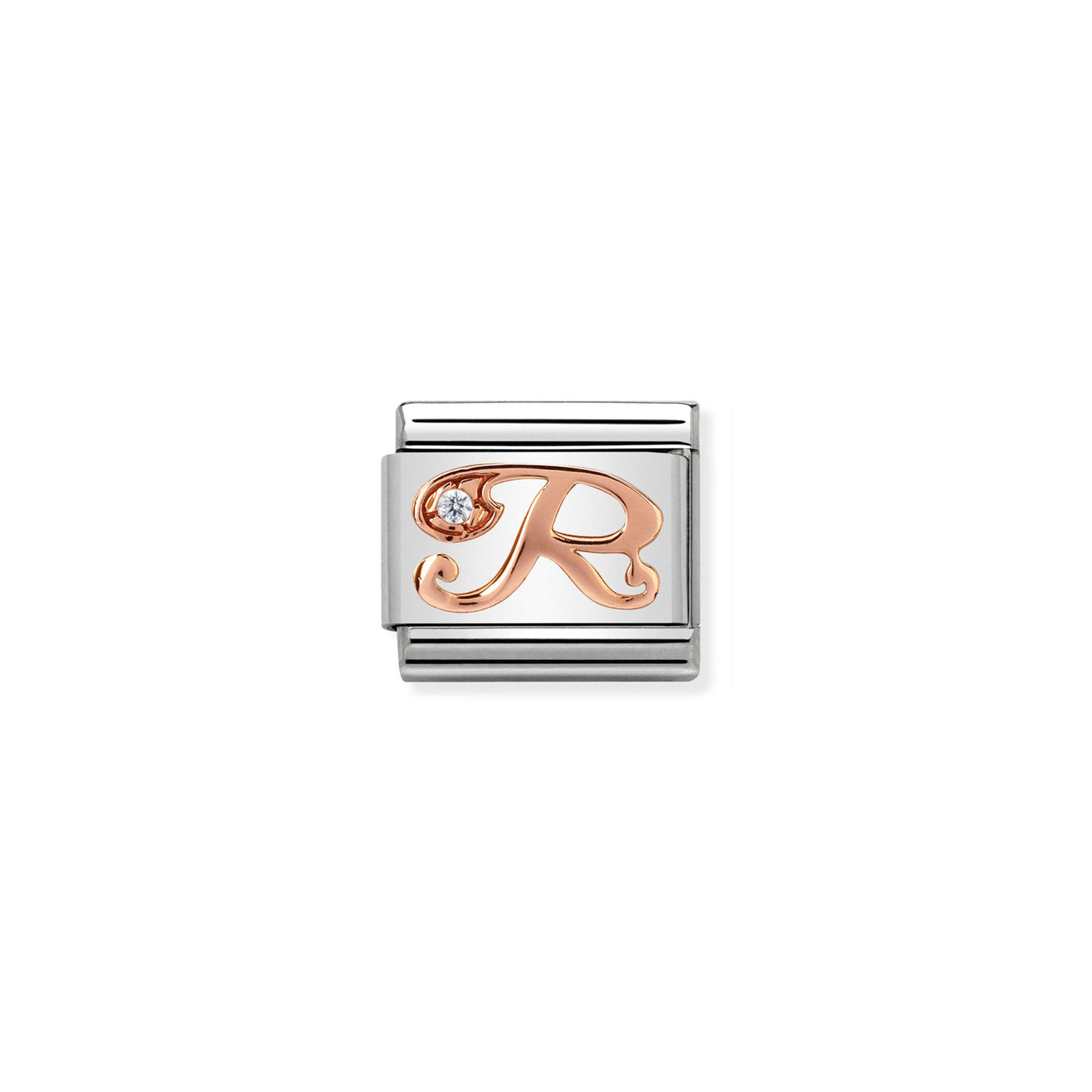 NOMINATION - Composable 430310 18 Classic LETTERS st/steel, CZ, 9ct rose gold (Letter R)