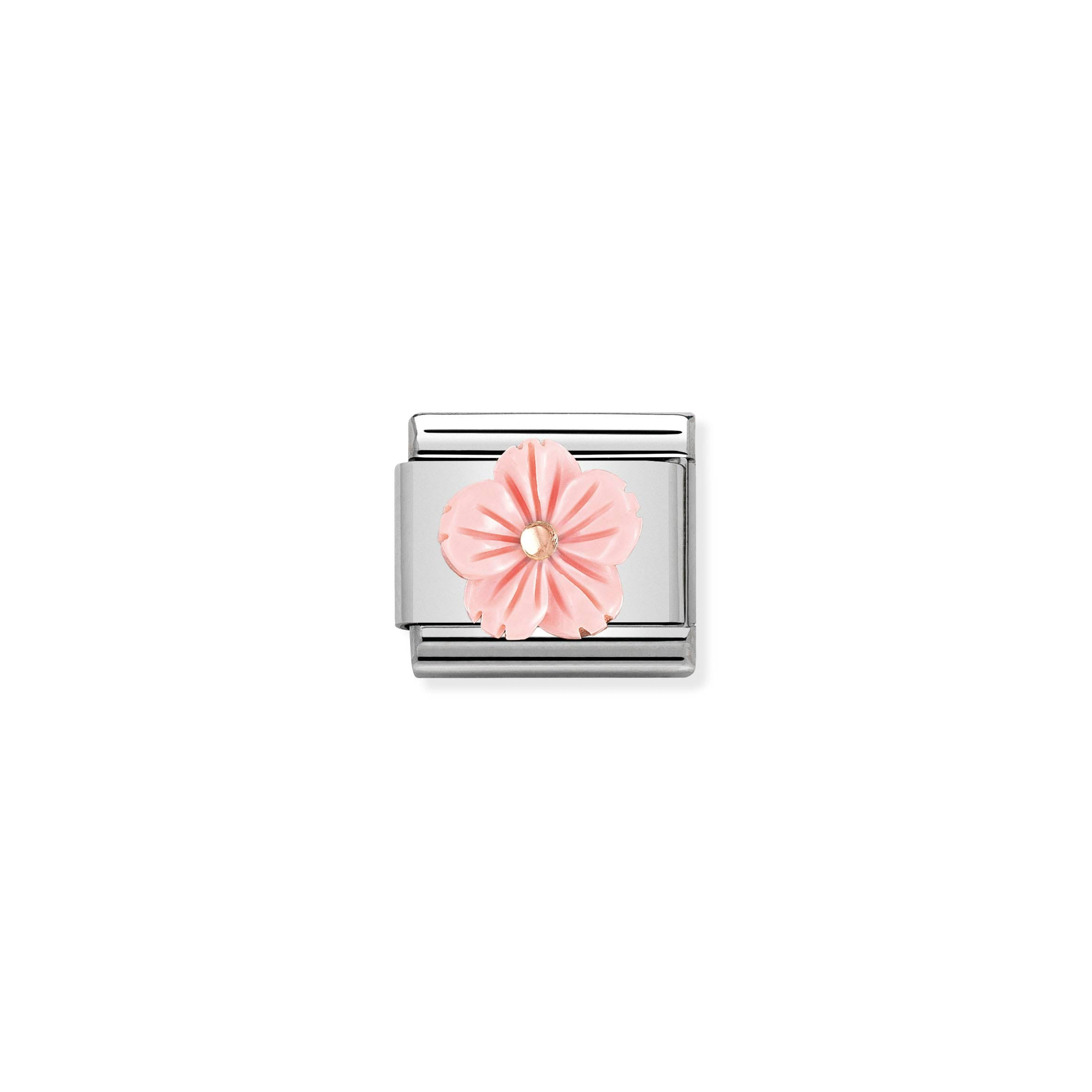NOMINATION - Composable Classic STONE SYMBOLS st/steel, 9ct rose gold (Flower in Rose Coral)