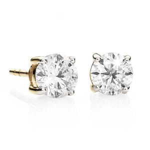 9ct gold 0.50ct+ round brilliant cut diamond studs