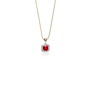 9ct Created Ruby and Diamond Halo Pendant