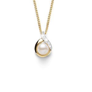 9ct Pearl & Diamond Pendant