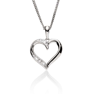 9ct White Gold 0.03ct Diamond Pendant