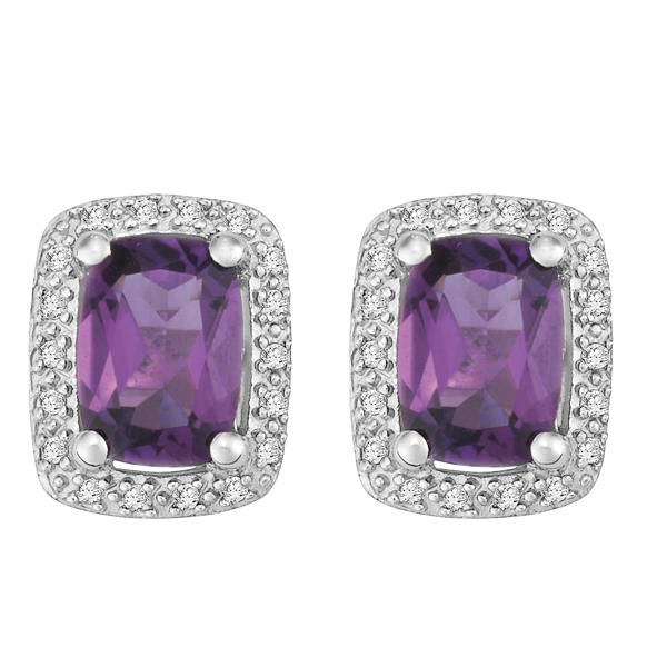 9ct White Gold Cushion Amethyst and  Round Brilliant-cut Diamond Earrings