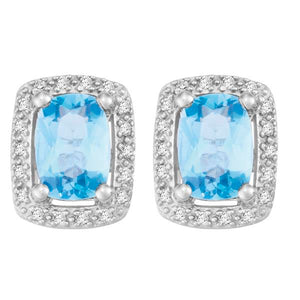 9ct White Gold Cushion Blue Topaz and  Round Brilliant-cut Diamond Earrings