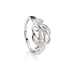 9ct White Gold Diamond Filigree Scroll Ring